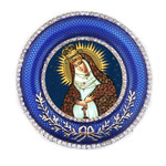 M-16B-61 Madonna & Child Faberge Style Round Framed Icon W Stand & Chain NEW!