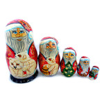"""200758L Hand Carved Hand Painted Santa Doll 5 Nested 6 1/4""""x3"""""""