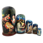 MD-N3  Matreshka 5 Nested Nativity of Christ Jesus Icon Doll 7""
