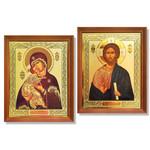 "IR-817 Virgin of Vladimir W Christ Wooden Framed Icon NEW! 10 1/2""x8 1/4"""