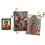 """TIP7 Lady Guadalupe St Michael Two Sided Rosary Pouch 5 3/8""""x4"""" NEW!!"""