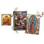 "TIP7 Lady Guadalupe St Michael Two Sided Rosary Pouch 5 3/8""x4"" NEW!!"