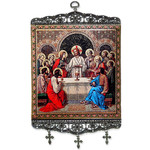 "TL-29 Madonna & Child Loving Relationship of Christ and His Blessed Mother Icon Large Size Tapestry Icon Banner W/Crosses 17""x8"""