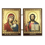 """IR-30A  Mini Diptych Virgin Mary of Kazan & Christ the Teacher 3""""x5 1/4"""""""