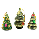 "100-014S Christmas Ornament ""Christmas Tree"" Hand Carved hand Painted 2 1/4"""
