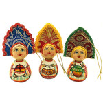 "6757 ASSORTED COLORS Hand Painted Matreshka Christmas Ornament NEW 3""x2"""