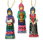 100-050 Men & Woman Assorted Hand Carved Hamd Painted Russian Ornaments