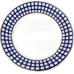 L4053 Cobalt Check Large Dinner Plate 12 1/4""