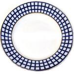 "L4053 Cobalt Check Large Dinner Plate 12 1/4"""