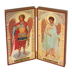 "SF-43 Diptych of St Michael & Guardian Angel  5""x5"""
