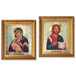 """A194 Virgin Of Vladimir and Christ Icon Gold Framed Glass Crystals 10""""x8 3/4"""""""