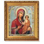 "A148 Virgin of Smolensk Gold Framed Crystals Glass 10 1/4""x9"""