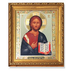"""A192 Christ The Teacher Icon Gold Framed Glass Crystals 10""""x8 3/4"""""""