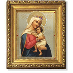 "AM231 Virgin Of Hope Framed Icon with Crystals and Glass NEW 8 1/4""x7 1/4"""
