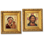 "B60 Virgin of Kazan Gold  Framed Icon with Crystals and Glass NEW 6 1/4""x5"""