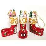 "100-090 Christmas Decoration Boot Wood Hand Carved Hand Painted 3""x1 1/2"""