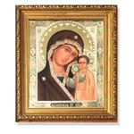 """A193 Virgin Of Kazan Gold Framed Glass Crystals 10""""x8 3/4"""""""