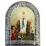 "MC431-21x16 Mary Queen Serigraph Icon Brushed Alum Frame 8 1/2""x6 1/2"" Comes With Stand"