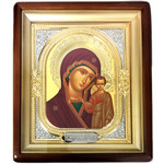 "Si-4 Virgin of Kazan Framed Icon With Glass  NEW 11""x9 5/8"""