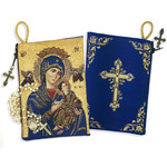 "TIP8  Virgin of Perpetual Help & Christ The Teacher  Rosary Icon Pouch 5 3/8""x4"" NEW!!"