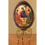 IED-20FG  Virgin Mary of Internal Bloom Wooden Egg With Gold Stand