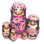 "CK-5B Blue NEW Beaded Matreshka 5 Nested Linden Wood Hand Carved Hand Painted Nesting Doll 7""x3 1/2"""