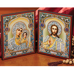 "IR-32 Diptych Virgin MAry and Christ the Teacher 9 1/2"" x 5 1/2"""