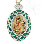 M-4G-11 Madonna & Child Faberge Style Enameled Icon Wall Pendant Decoration NEW!