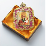 M-5P-7 Virgin of Jerusalem  Faberge Inspired Framed Icon With Ctystals & Detachable Chain Bow