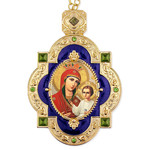 M-7B-66 Smolensk Mother of God & Child Wall Room Decoration Faberge Inspired Frame Icon Pendant Gift Idea