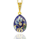 8653-R Flower Faberge Style Sterling Silver 925 Gold Gilding 18kt  Egg Pendant NEW