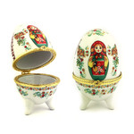 "Porc2-1 Porcelain Egg Open Up Jewelry Box or a Beautiful Decoration ASSORTED COLORS ONLY 4""x 2 1/4"""