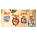 IF-Set-2  Set of 3 Faberge Style Enameled Framed Icon Pendants/Christmas Ornaments W Chain/Room Car Decorations Gift Boxed