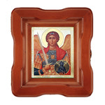 "K-4-SF-61 ST Michael Open Up Wood Shrine With Glass 7""x6"""