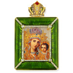 M-15G-7 Madonna & Child Royal Green Christ the teacher Icon Faberge Style Frame W Stand & Chain NEW!