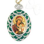 M-4G-11 Madonna & Child Faberge Style Enameled Icon Wall Pendant Decoration NEW!