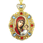 M-8-23 Virgin Mary of Jerusalem Jeweled Faberge Style Icon Pendant With Chain to Hang Gift Boxed