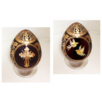 """5-RC Faberge Style Crystal Egg Two Sided """"Cross Birds & Flowers"""" with Its Stand NEW"""