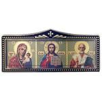 "IR-669 Car Room Icon Virgin of Kazan Christ The Teacher & St Nicholas NEW 4""x1 3/4"