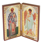 "SF-706 ST Nicholas & Guardian Angel Diptych Icon 5"" NEW!"