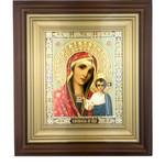 "IR-754 St Nicholas Icon Wood  Framed Glass  Icon NEW!  8""x7"