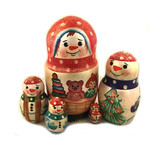 "832 Snowman 5 Nesting Doll Gift Idea For Christmas 5 3/4""x3"" NEW!!"