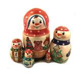 "832 Snowman 5 Nesting Doll Gift Idea For Christmas 5 3/4""x3"" NEW!!"