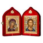 "SI-18 Presentation Wedding Gift  Icon Set Christ The Teacher & Virgin of Kazan Attractive Plush Velvet Case 9 3/8""x16"""
