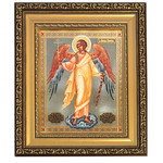 """AM41 Guardian Angel Framed Crystals Glass NEW 8 1/4""""x7 1/4"""""""