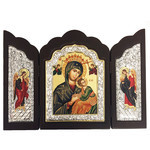 "T102-29x35 Large Wood Shrine Silver Serigraph Perpetual Help With Archangel Michael & Gabriel Icon NEW 11 3/4""x14 1/4"""""