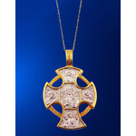 EC-9 Russian 925 Sterling Silver Gold Plate Cross Jesus Christ St Michael Gabriel Saints