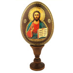 "IED-12-2  Wooden Icon Egg Virgin Mary of Vladimir & Child NEW! 4""x3 1/4"""