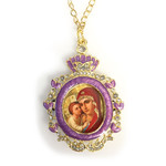 IF-1P-27 Faberge Style Icon Pendant Madonna & Child w/Chain and Bow