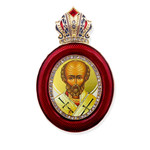 M-13R-1 Virgin of Vladimir Faberge Style Icon Pendant W Crown & Chain To Hang, Wall Room Car Christmas Tree Decoration